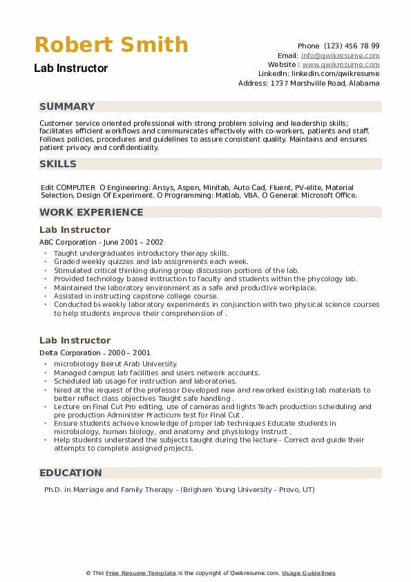 Lab Instructor Resume example