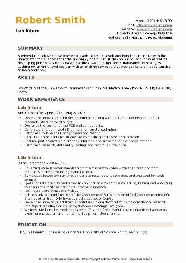 Lab Intern Resume example