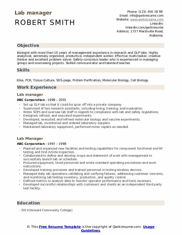 Lab Manager Resume Samples Qwikresume