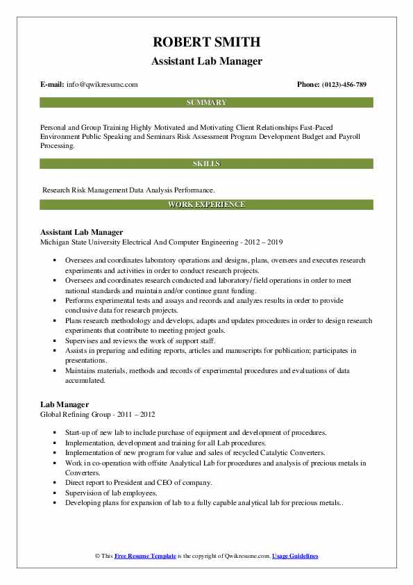 Assistant Lab Manager Resume Format