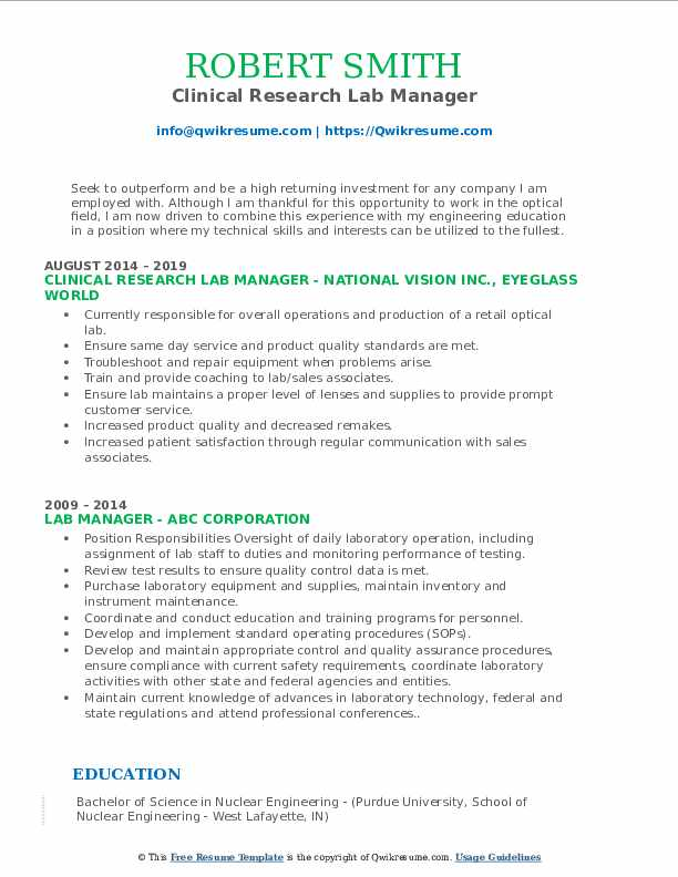 Clinical Research Lab Manager Resume Model