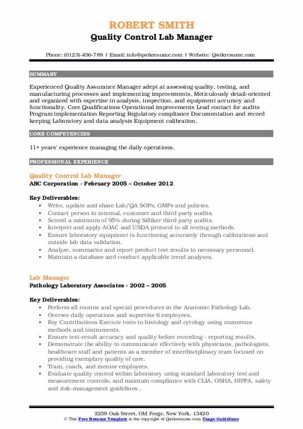 Quality Control Lab Manager Resume Sample