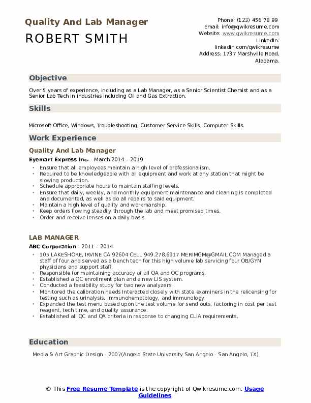 Quality And Lab Manager Resume Sample