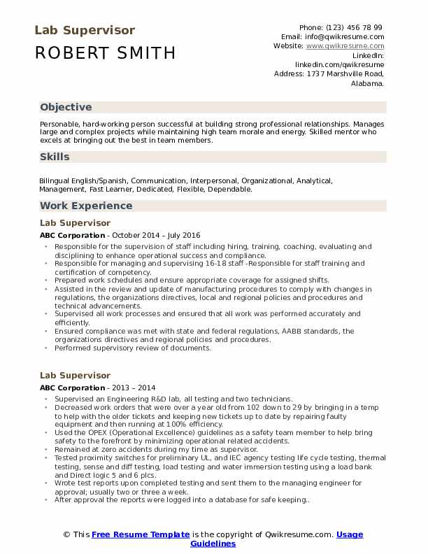 Lab Supervisor Resume Sample