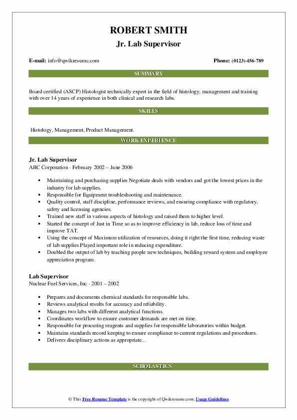 Jr. Lab Supervisor Resume Format