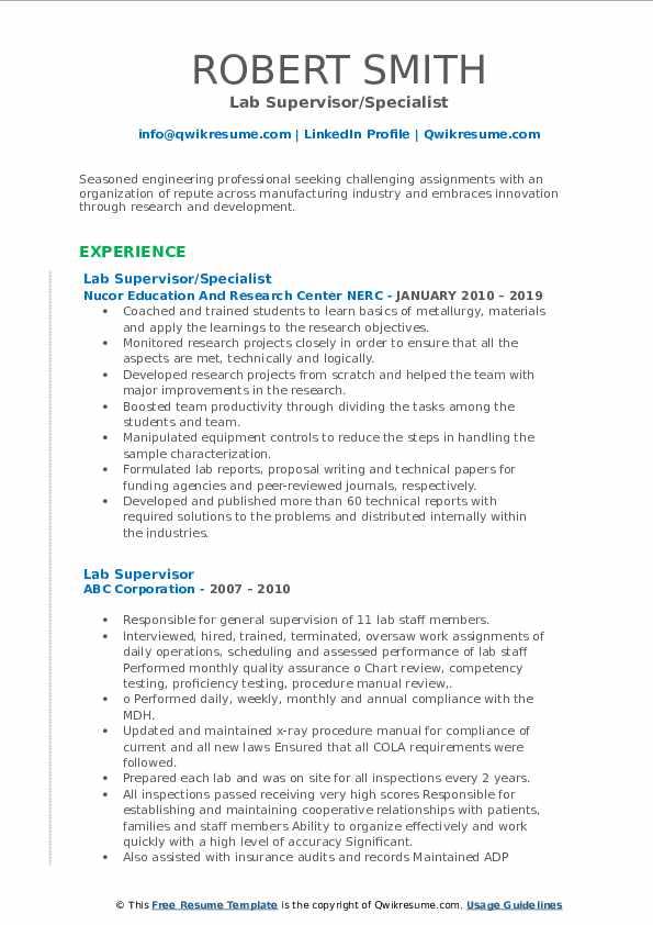 Lab Supervisor/Specialist Resume Model