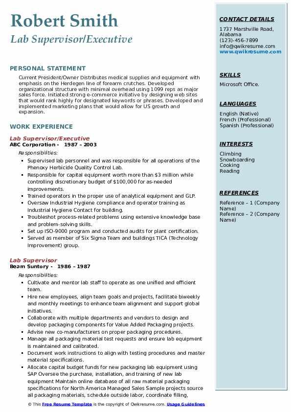 Lab Supervisor/Executive Resume Example