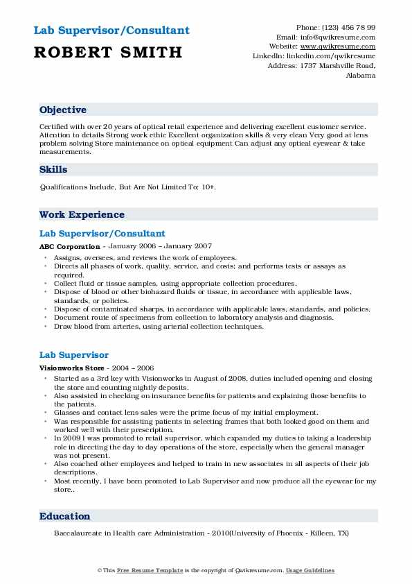Lab Supervisor/Consultant Resume Sample