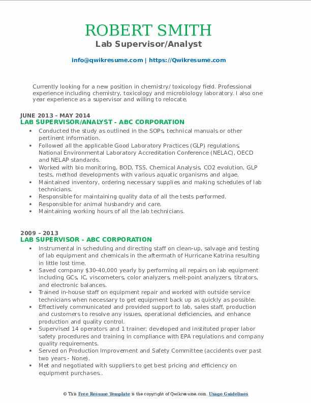 Lab Supervisor/Analyst Resume Sample