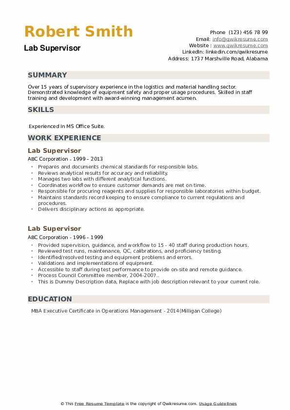 Lab Supervisor Resume example