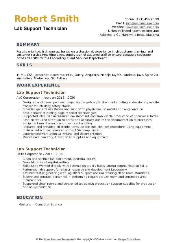 Lab Support Technician Resume example