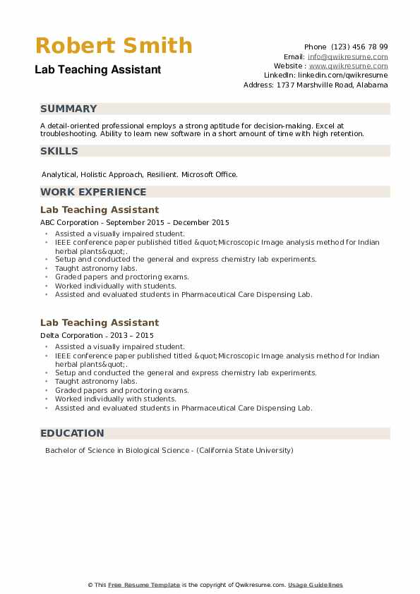 Lab Teaching Assistant Resume example