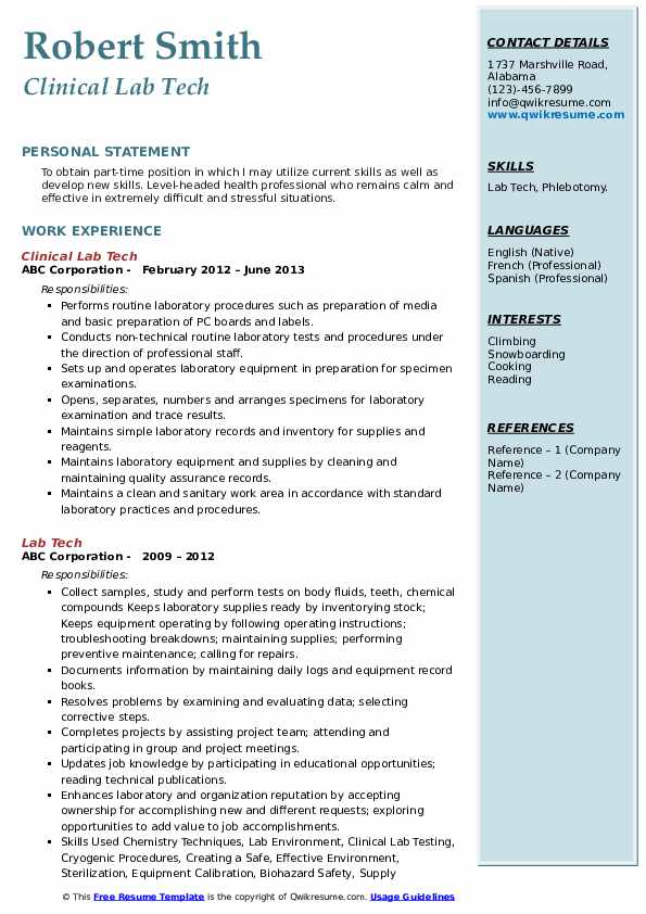 Clinical Lab Tech Resume Model
