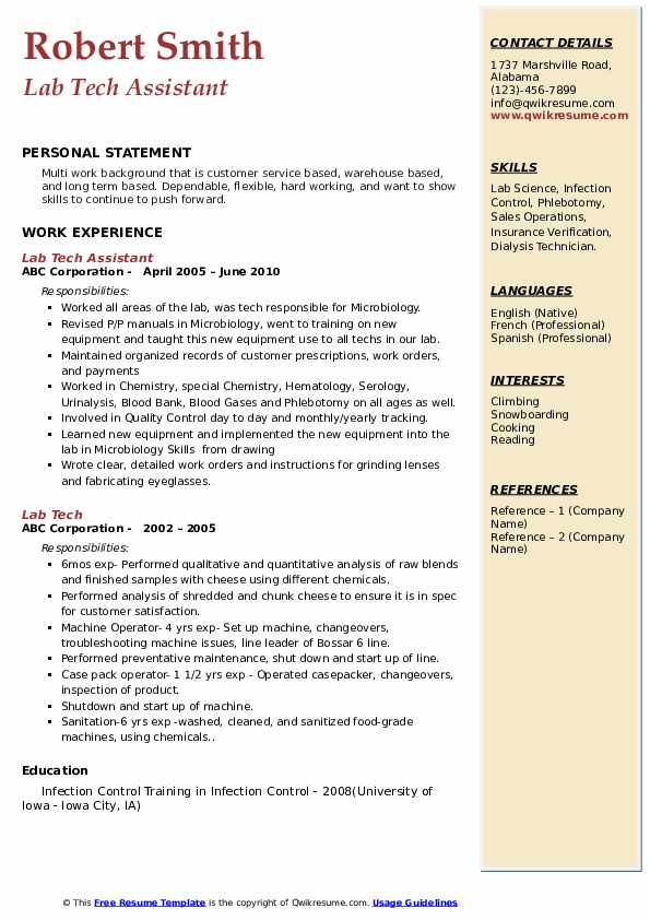 Lab Tech Assistant Resume Model