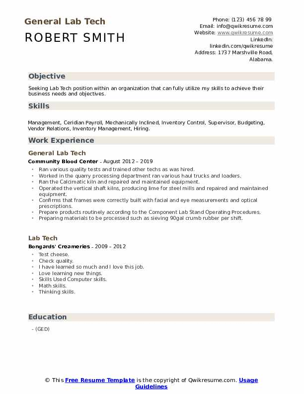 General Lab Tech Resume Format