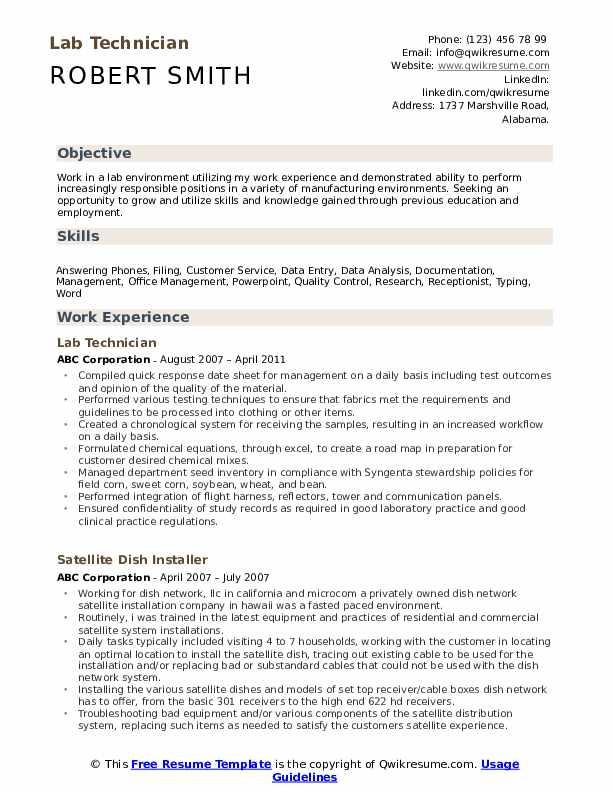 Lab Technician Resume Format