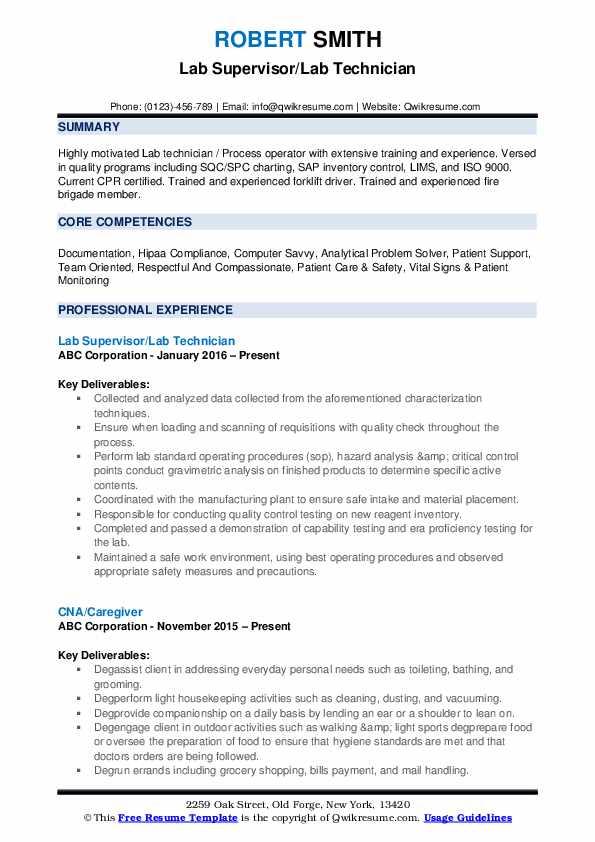 Lab Supervisor/Lab Technician Resume Example