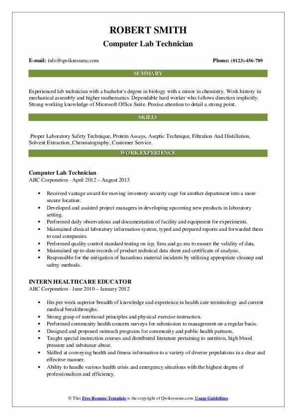 Computer Lab Technician Resume Sample