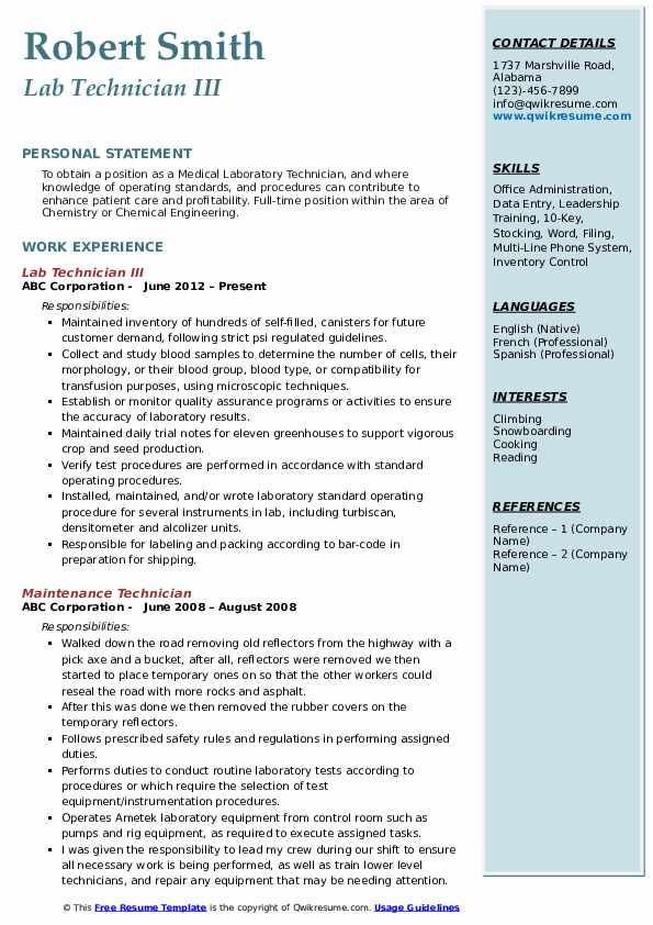 Lab Technician III Resume Model