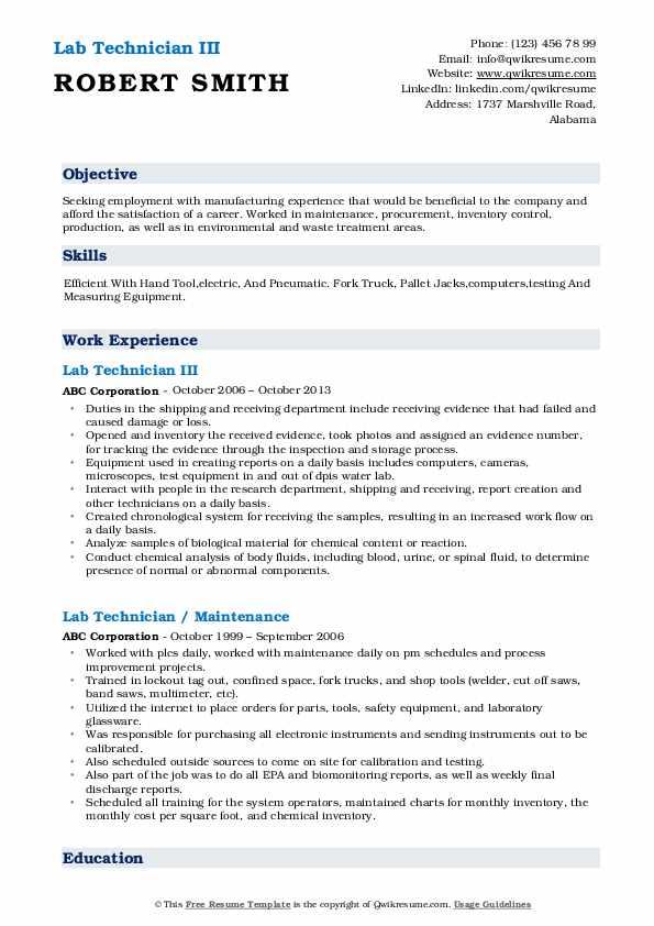 Lab Technician III Resume Example