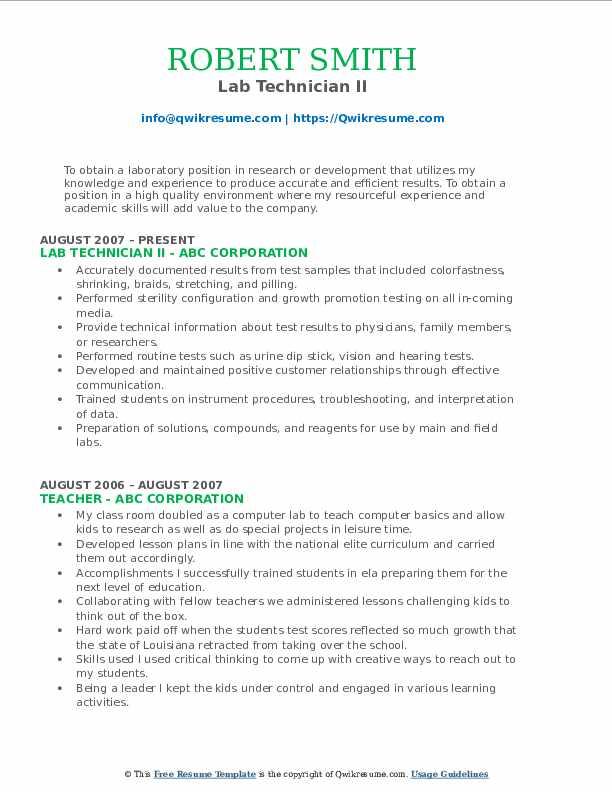 Lab Technician II Resume Model