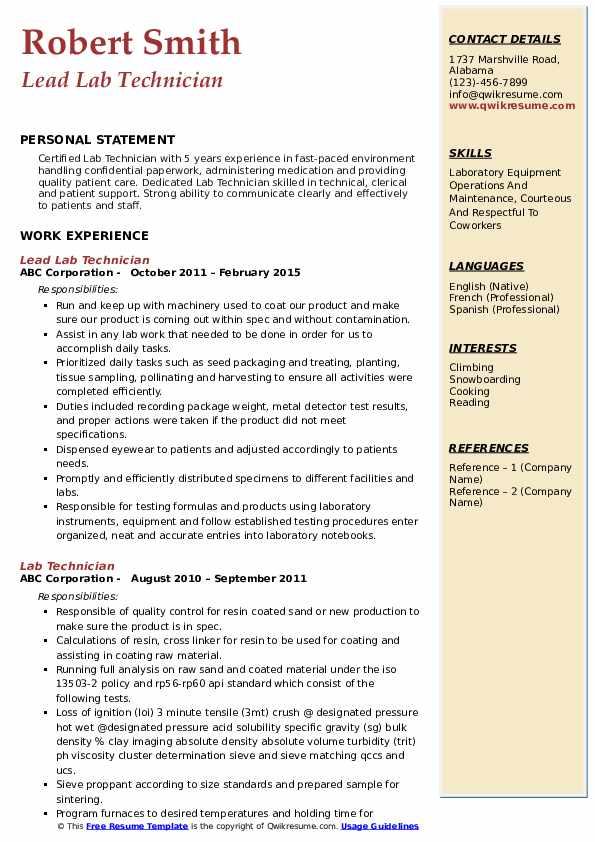 Lead Lab Technician Resume Template