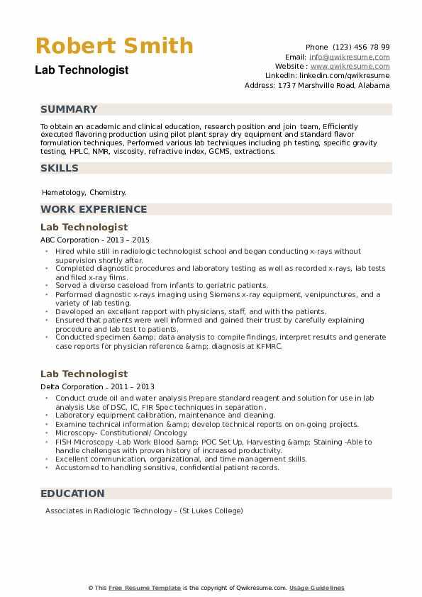 Lab Technologist Resume example