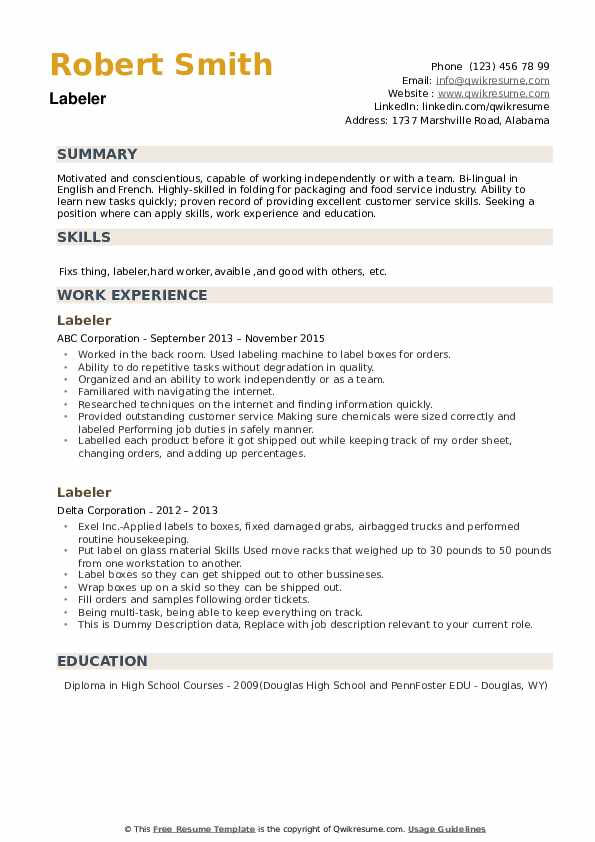 Labeler Resume example