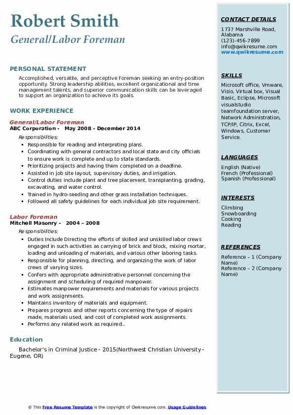General/Labor Foreman Resume Sample