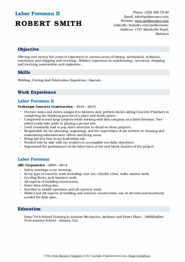 Labor Foreman II Resume Model