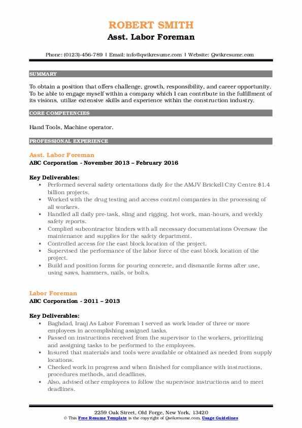 Asst. Labor Foreman Resume Model
