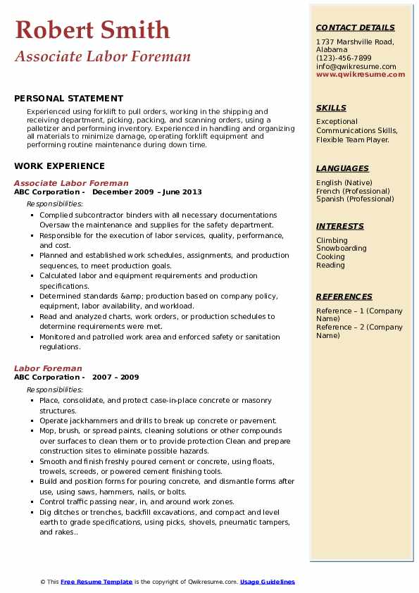 Associate Labor Foreman Resume Model