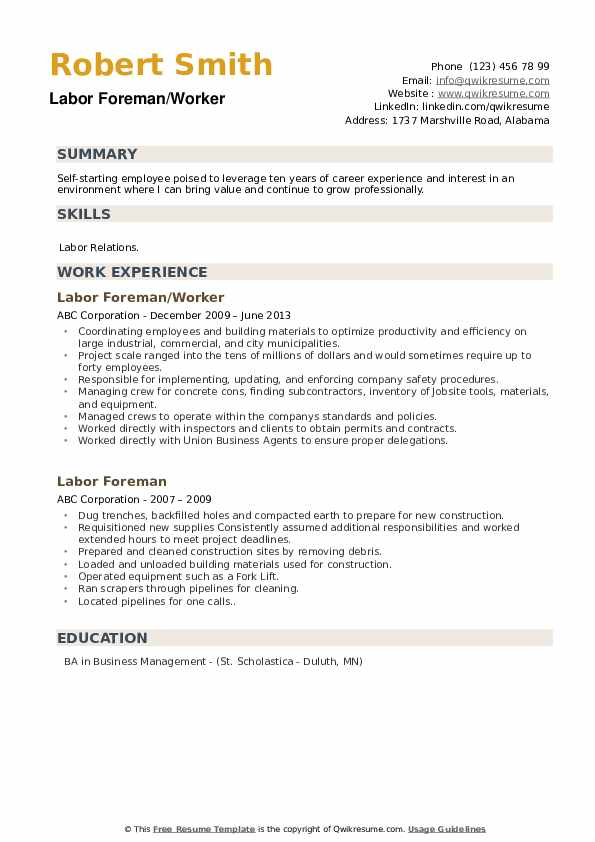 Labor Foreman/Worker Resume Template
