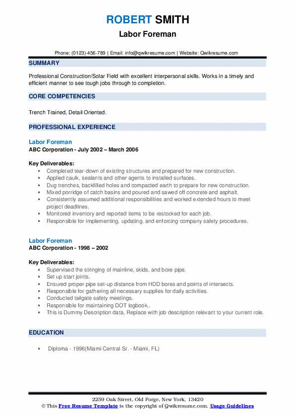Labor Foreman Resume example