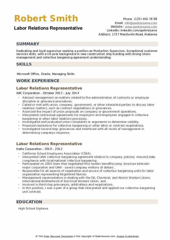 Labor Relations Representative Resume example