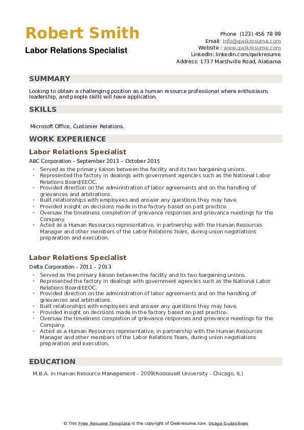 Labor Relations Specialist Resume example