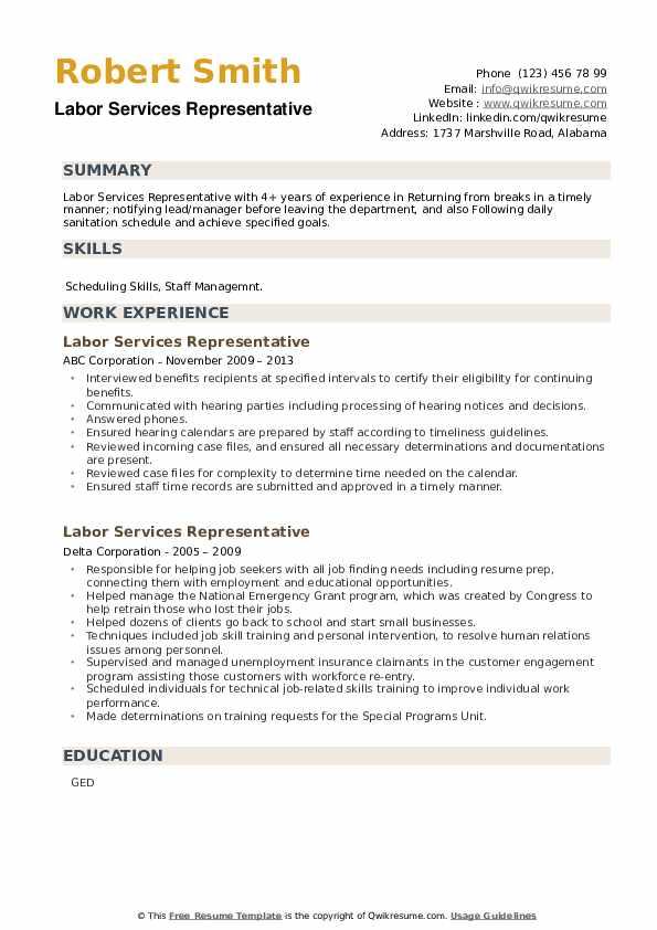 Labor Services Representative Resume example