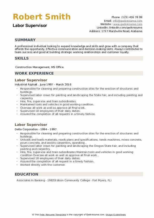 Labor Supervisor Resume example