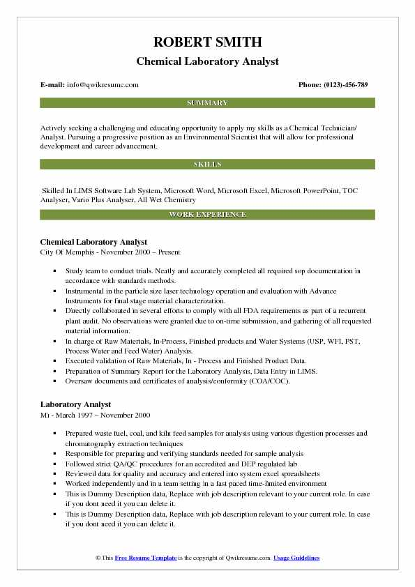 Chemical Laboratory Analyst Resume Model