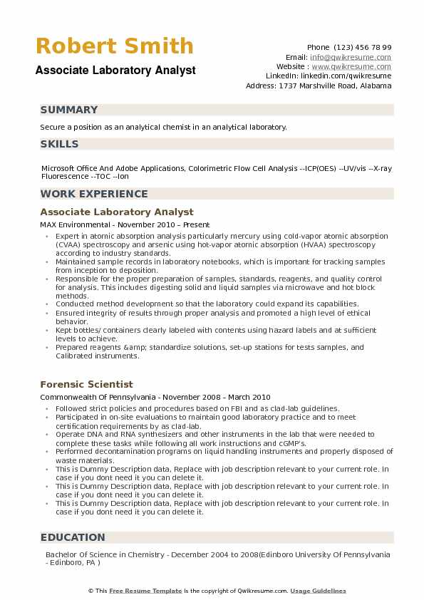 Associate Laboratory Analyst Resume Sample  Analytical Chemist Resume