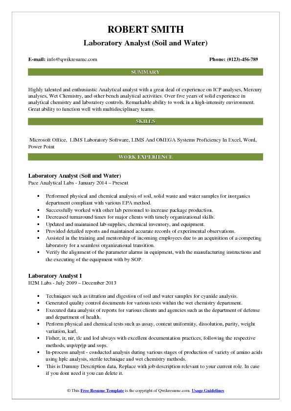 Laboratory Analyst (Soil And Water) Resume Sample  Analytical Chemist Resume