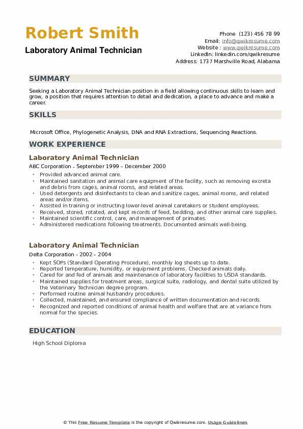 Laboratory Animal Technician Resume example