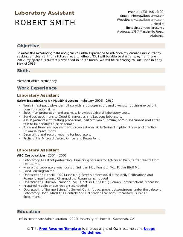laboratory assistant 1560597231 pdf - Download medical assistant resume sample objective logging companies in georgia