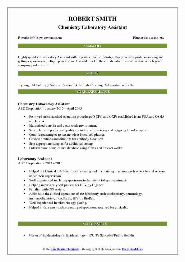 Chemistry Laboratory Assistant Resume Sample