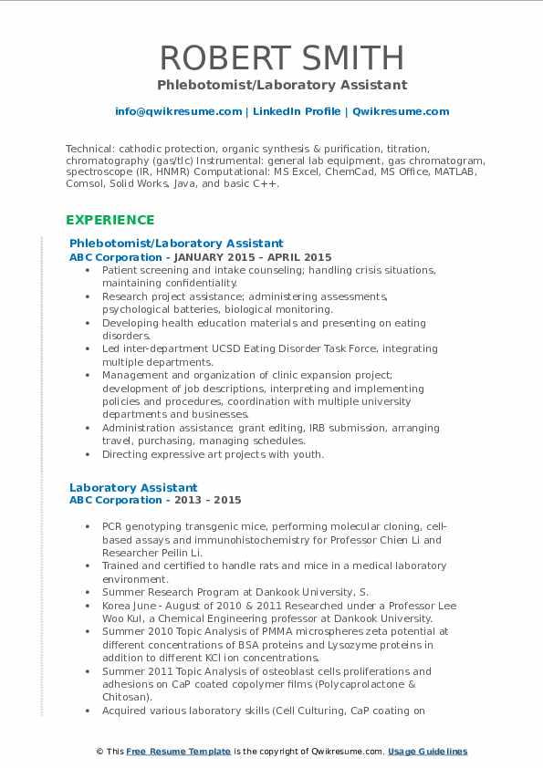 Phlebotomist/Laboratory Assistant Resume Format