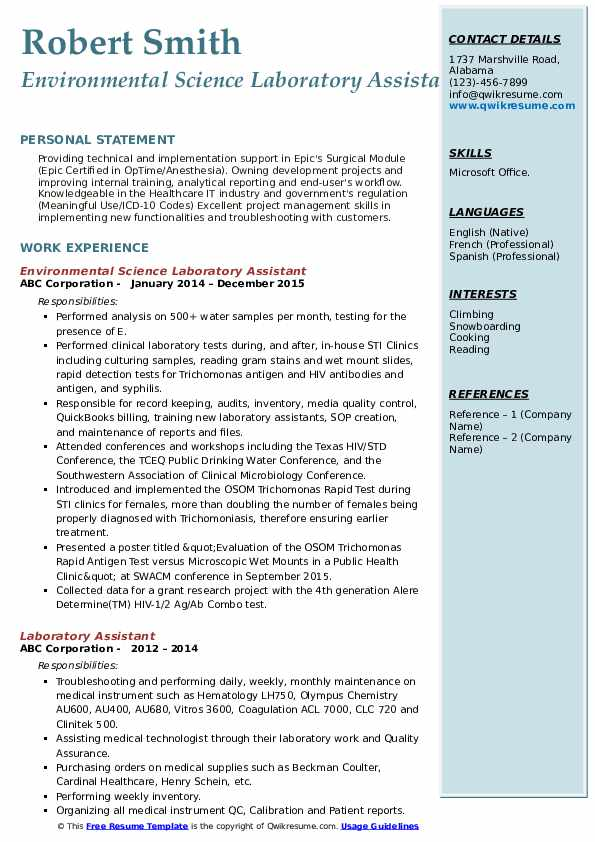 Environmental Science Laboratory Assistant Resume Template