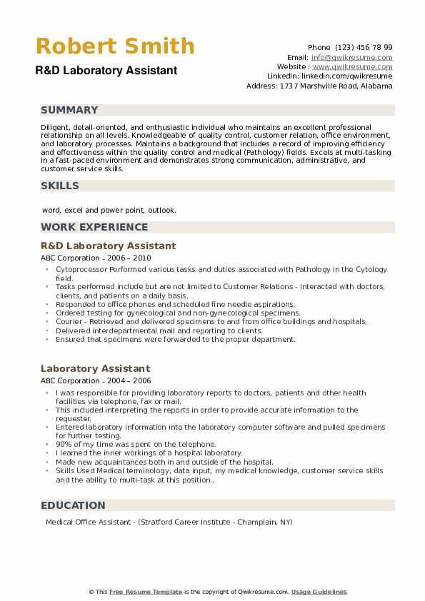 R&D Laboratory Assistant Resume Sample
