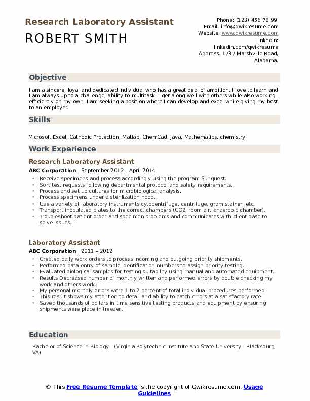 Research Laboratory Assistant Resume Sample
