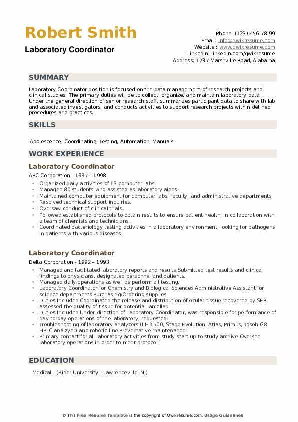 Laboratory Coordinator Resume example