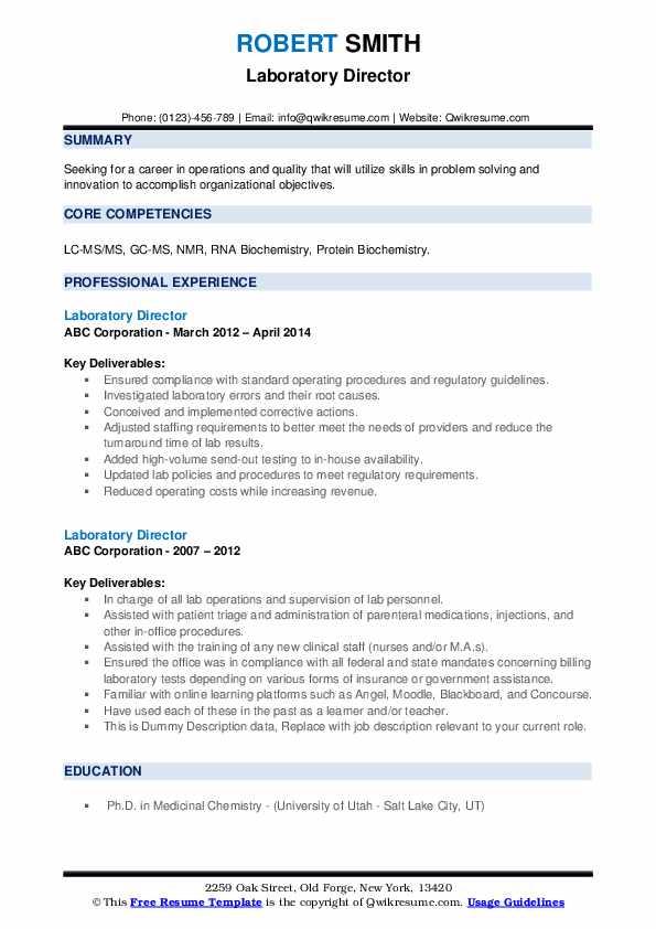 Laboratory Director Resume example